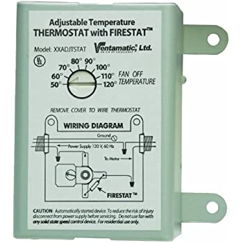 Ventamatic XXFIRESTAT 10-Amp Adjustable Thermostat with Firestat for Power Attic Ventilators