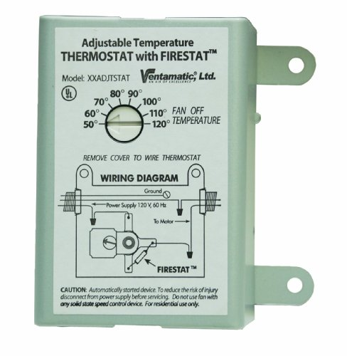 Ventamatic XXFIRESTAT 10-Amp Adjustable Programmable Thermostat with Firestat for Power Attic Ventilators, Replacement ()