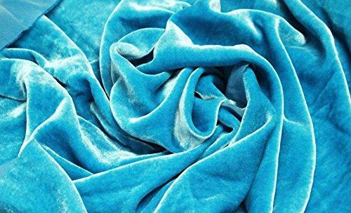 """Turquoise Blue Plush Silk Velvet Upholstery Apparel Fabric - BTY - 44"""" / 45"""""""