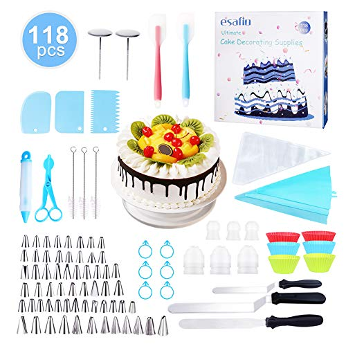 esafio 118-in-1 cake decorating supplies kit with cake turntable, 60 Icing Tips, Disposable plastic decorating bags, Silicone cake cups, icing bag ties, icing smoother, plastic connectors]()