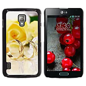 Be Good Phone Accessory // Dura Cáscara cubierta Protectora Caso Carcasa Funda de Protección para LG Optimus L7 II P710 / L7X P714 // Couple of gold rings