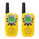 Qianghong T3 Kids Walkie Talkies 3-12 Year Old Children's Outdoor Toys Mini Two Way Radios UHF 462-467 MHz Frequency 22 Channels -1 Pair Yellow