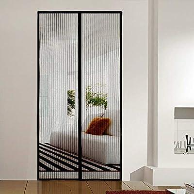 AMCER Magnetica Corredera Cortina 225x180cm, Cortina Mosquitera para Puertas, Protección contra Insectos, Velcro Adhesiva, Negro: Amazon.es: Hogar