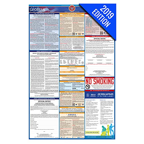 (2019 Georgia Labor Law Poster – State, Federal, OSHA Compliant – Laminated Mandatory All in One Poster)