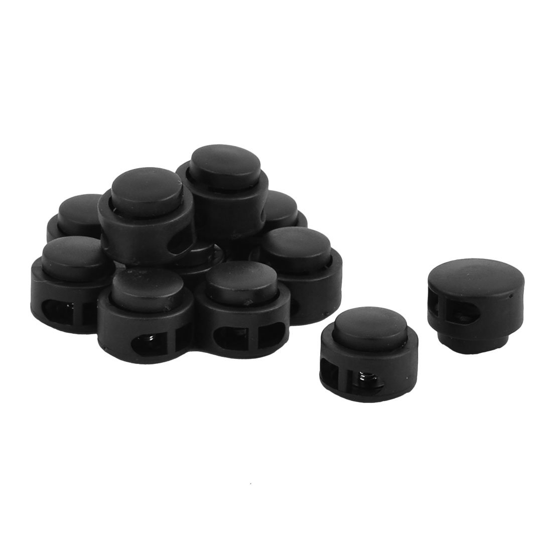 uxcell Plastic Outdoor Cylinder Double Holes Bag Clothes Cord Lock Stopper Fastener 12pcs