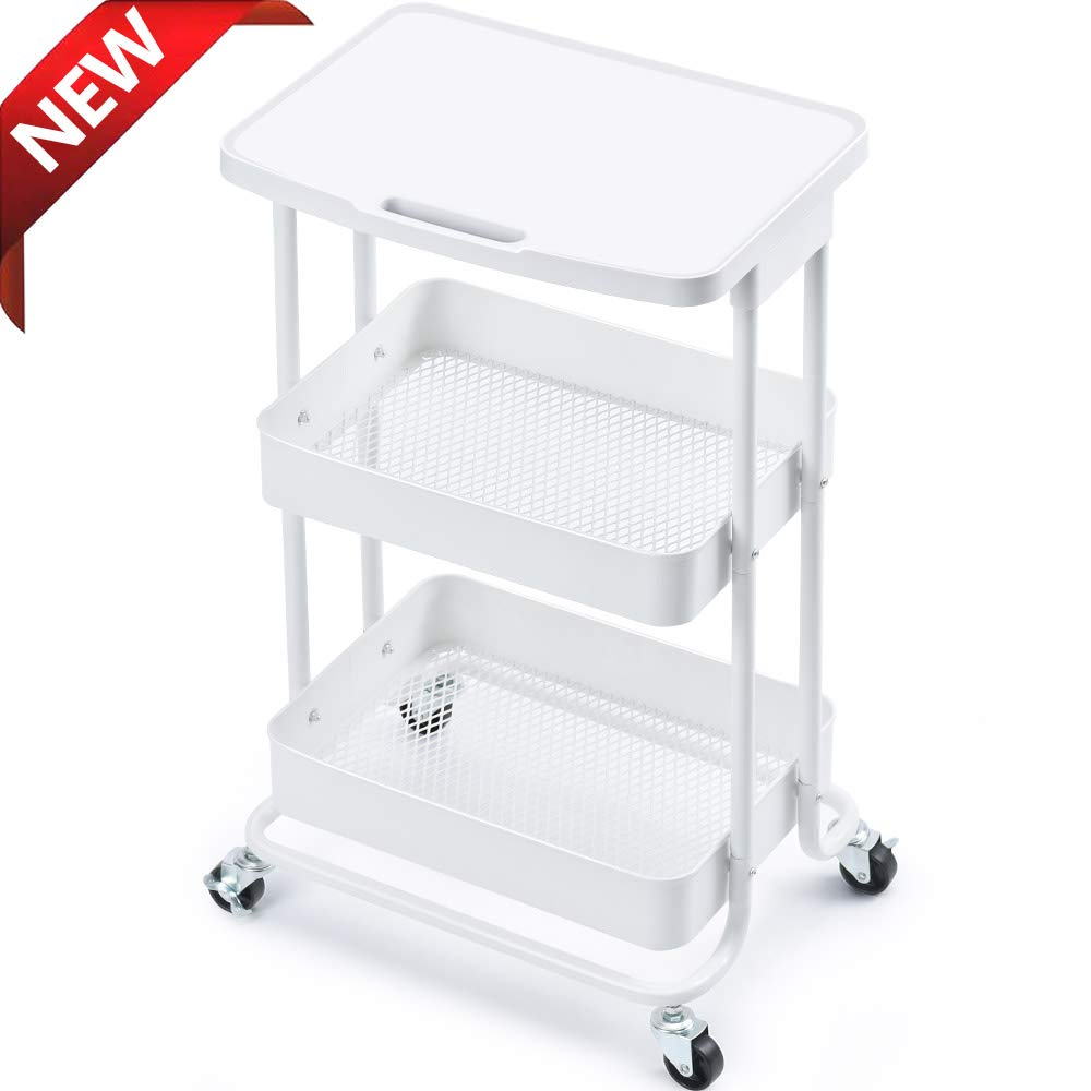 TOOLF 3-Tier Metal Rolling Storage Cart with Practical Tabletop, 3-Tier Metal Serving Rolling Cart with Contral Handle,Trolley Organizer with Locking Wheels for Library Office Classroom Home Dedroom by TOOLF