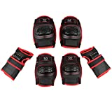 KUKOME-SHOP Kids Children Knee Pads Elbow Pads Wrist Guards Protective Gear Set for Roller Skating Skateboard BMX Scooter Cycling (Black, S)