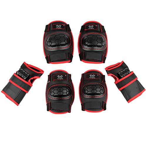 Kids Children Roller Skating Skateboard BMX Scooter Cycling Protective Gear Pads (Knee pads+Elbow pads+wrist pads) (Black, S)
