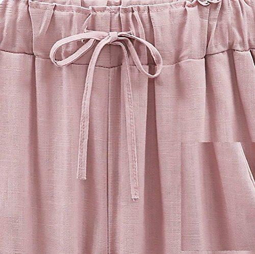 Casuales Libre Color 8 Correas Cómodo Con Mujer Verano Anchas Pluderhose Grande De Cintura Alta Talla Cruzadas 7 Pantalon Pink Sólido Tiempo Pantalones Mujeres Lino 0wqAv1