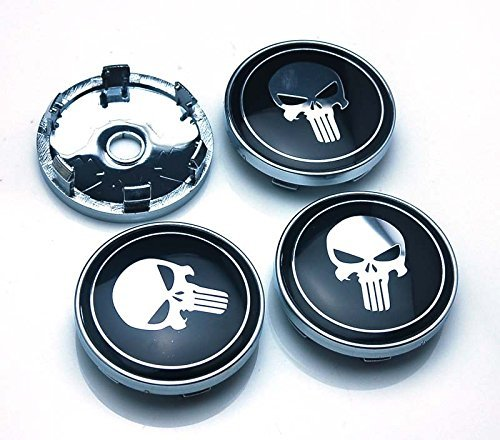 BENZEE 4pcs W314 60mm Car Emblem Wheel Hub Caps Centre Cover SKULL Punisher War ()