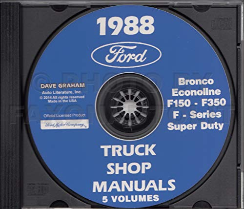 STEP-BY-STEP 1988 FORD PICKUP TRUCK REPAIR SHOP MANUAL CD F-Series, Super Duty, F-150, F-250, F-350, Bronco. - 88 Ford Van Econoline 1988