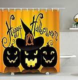 Yomyceo Halloween Shower Curtain Cool Black Happy Halloween Moon Pumpkin Waterproof Bathroom Fabric Shower Curtain Bathroom decor 72 x 72 Inch