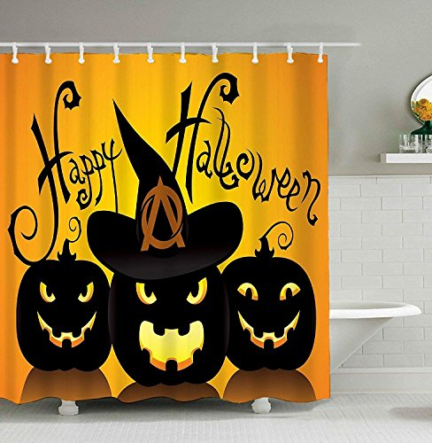 Yomyceo Halloween Shower Curtain Cool Black Happy Halloween Moon Pumpkin Waterproof Bathroom Fabric Shower Curtain Bathroom decor 72 x 72 Inch by Yomyceo