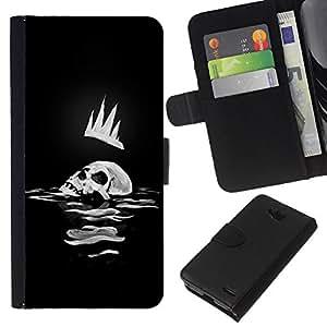 KingStore / Leather Etui en cuir / LG OPTIMUS L90 / Corona del cráneo del hombre Arte Rey Mar Océano Muerte Oscuro