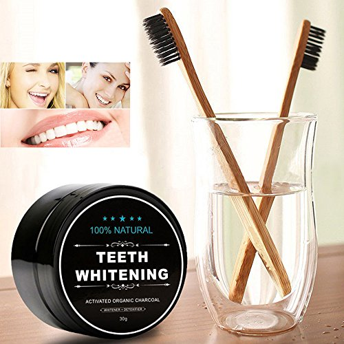 Teeth Whitening Charcoal Powder, Natural Activated Charcoal Teeth Whitener Powder with Bamboo Brush Oral Care Set (1.05 ounces)