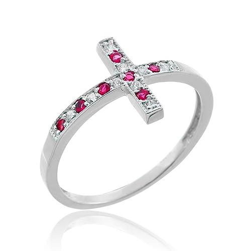 10k White Gold Sideways Cross Ruby and Diamond Ring