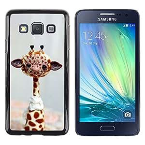 Shell-Star Arte & diseño plástico duro Fundas Cover Cubre Hard Case Cover para Samsung Galaxy A3 / SM-A300 ( Funny Friendly Giraffe )