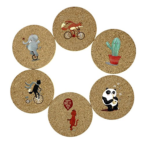 (Cork Coasters,Drink Coasters Set,Absorbent Protect Furniture,Cute Design Set of 6)