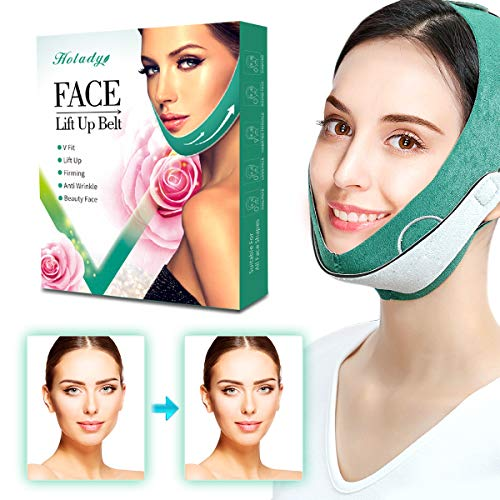 Holady Face Slimming Strap,V Shaped Line Chin Up Face Lift Double Chin Belt, Face Shaper Band for Women Green