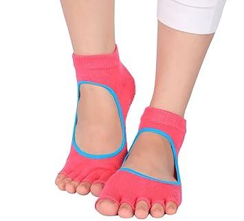Fitness no Slip Ballet bailando Yoga Pilates calcetines con agarres cotton- Toeless Yoga Pilates calcetines