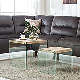 SUNCOO Nest Coffee Table Side End Table (Butternut(MDF,Glass Leg,Set of 2))