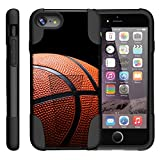 TurtleArmor | Apple iPhone 7 Case | (4.7') [Gel Max] Hybrid Impact Proof Kickstand Case Silicone Hard Dual Cover Sports and Games Design - Basketball Seams