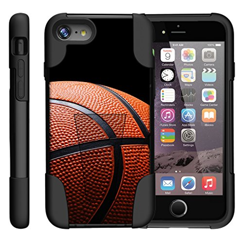 TurtleArmor | Compatible for Apple iPhone 7 Case | (4.7) [Gel Max] Hybrid Impact Proof Kickstand Case Silicone Hard Dual Cover Sports and Games Design - Basketball Seams