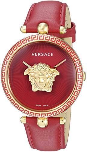 Versace Women's 'Palazzo Empire' Swiss Quartz Gold-Tone and Stainless Steel Casual Watch, Color Red (Model: VCO120017)