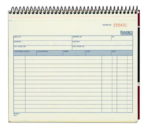 Adams Spiral Invoice Book, 8 1/2 x 7 1/4 Inches, 2-Part, Carbonless, White/Canary, 50 Sets per Book (Blank Carbonless Forms)