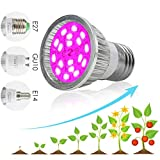 Diadia LED Grow Light Bulbs, Diadia Grow Lamp Plant Light Panel Full Spectrum for Plants, Indoor Garden, Vegetable, Flowers, Fruits, Succulents, Seedlings Starting (6W 18-LED-A)