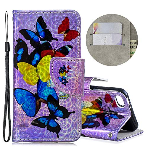 Wallet Case for iPod Touch 5/6 with Glitter Pattern,QFFUN Bling Iridescent Design Magnetic Stand PU Leather Case with Card Holder Shockproof Folio Flip Cover and Screen Protector - Butterfly