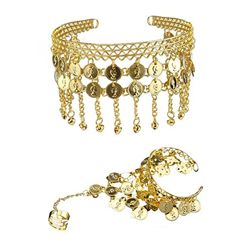 [TopTie Belly Dance Gypsy Jewelry Set, Gold Triangle Bracelet & Tribal Headband GOLD] (Belly Dance Costumes Custom)
