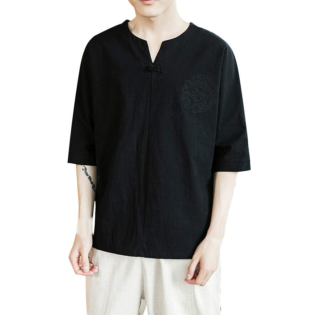 Linen Shirts for Men Short Sleeve Big and Tall Vintage Baggy Cotton Linen Solid Retro T Shirts Tops Blouse Black by Letdown_Men tops