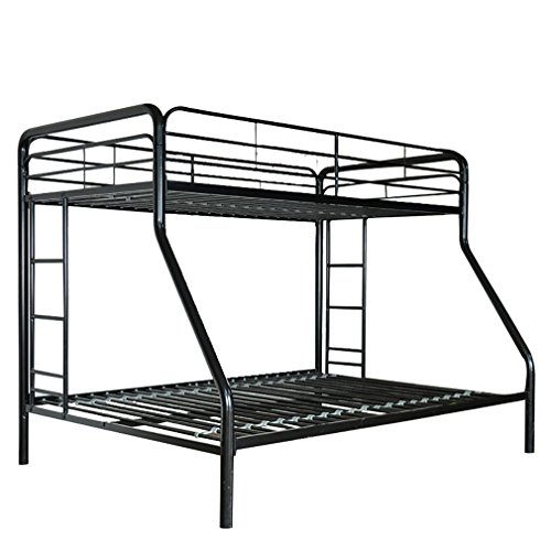 BestMassage Sturdy Metal Bunk Beds with Safety Rails and Ladder,Twin-Over-Full bunk bed - Loft Double Rail