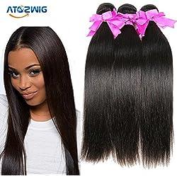 ATOZWIG Human Hair Products High Quality Malaysian Virgin Hair Straight 3pcs 300g lot 7A Unprocessed Virgin Human Hair Weave Bundles Maylasian Hair