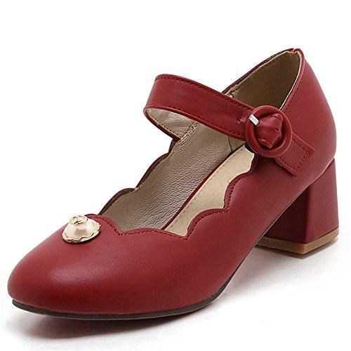 Fashion Heel Moda Puntera Redonda Zapatos de Tacón Grueso con Hebilla para Mujer Rojo