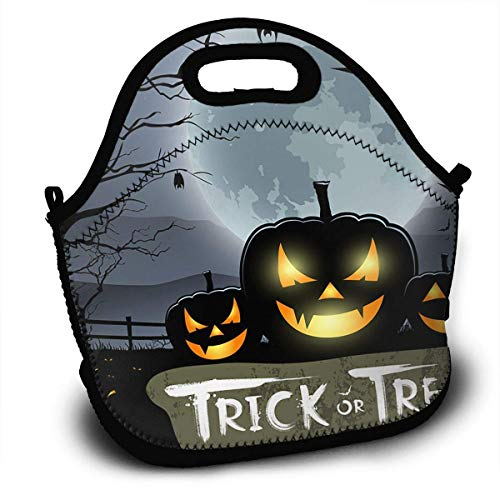 Insulated Neoprene Large Lunch Bag Tote - Washable Reusable Thermal Lunch Tote/Lunch Box/Bag Handbag For Women,Men,Kids,Adults For School Work Office and More, Halloween Trick Or Treat Pumpkin ()