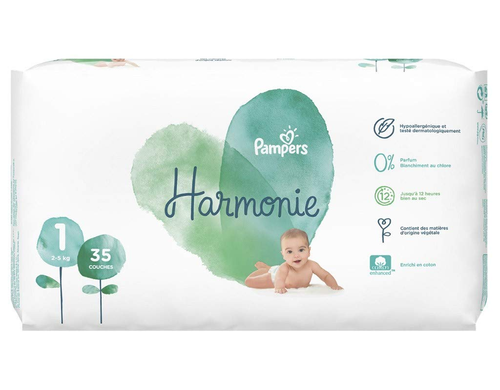 2-5Kg Pampers Couches Harmonie Taille 1 lot de 2 soit 70 couches x35