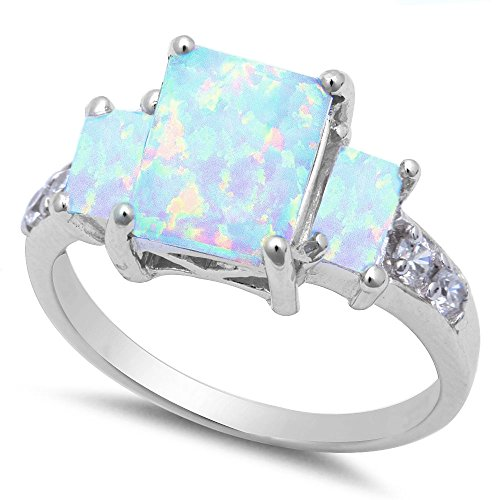 Radiant Cut Lab Created White Opal & Cz .925 Sterling Silver Ring sizes 5-10