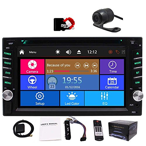 PS SAT Navigation Multi-Touchscreen Car DVD Player in-Dash Audio Car GPS Stero AM/FM Radio Bluetooth 8GB Map Card Remote Control Backup Camera Head Unit ()