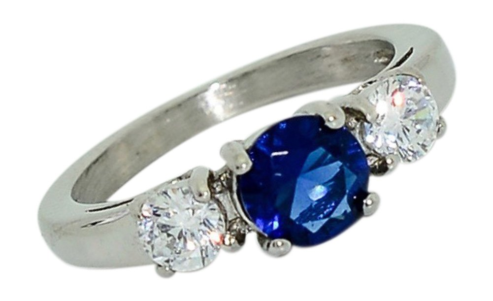 Birthstone Ring~September~Stainless Steel~3 Stone~Cubic Zirconia CZ~Sapphire~Blue Crystal~Mother's Ring~Fashion Ring~Women's Jewelry (7)