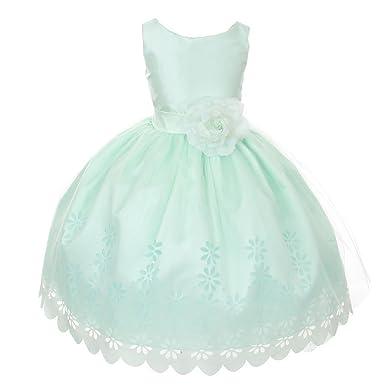 027ac7226 My Girl Dress Inc Girl's Mint Tulle Flower Girl Dress with Floral Design  Skirt-Mint