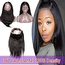 7A 360 Lace Frontal Closure Straight Brazilian Human Hair 360 Closure Pre-plucked with Baby Hair Free Part 130% Density Natural Black 14""