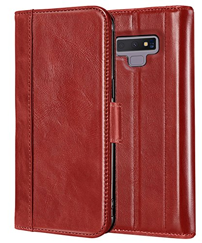 ProCase Genuine Leather Case for Galaxy Note 9, Vintage Wallet Folding Flip Case with Kickstand and Multiple Card Slots Magnetic Closure Protective Cover for Galaxy Note 9 (Red)