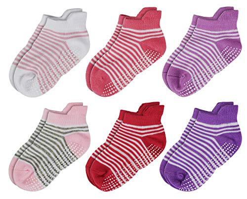 Aminson Grip Ankle Low Cut Athletic Socks - Kids Boys Girls Anti Non Skid Slip Slipper Crew Socks 6-12 Pack