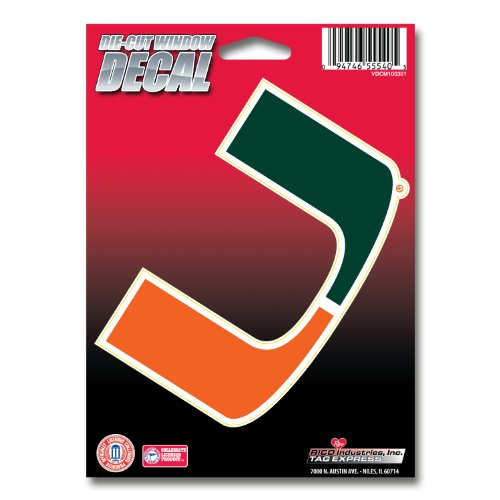 NCAA Miami Hurricanes Die Cut Vinyl Decal with Backing