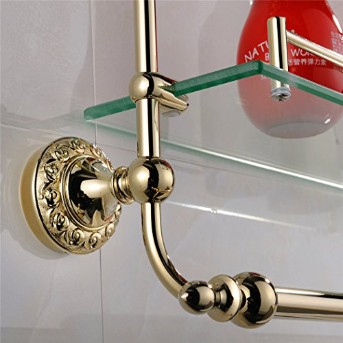 WINCASE Solid Brass Material Mounted Bathroom Shelf Double Layer Glass with Towel Bar Gold Finish, Concealed Screws Mounting Lavatory Shower 18.5 Inch Length by WINCASE (Image #3)