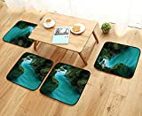 Leighhome Modern Chair Cushions Collection Tolminka Alpine River Water Caves Nature Picture Accessories Convenient Safety and Hygiene W23.5 x L23.5/4PCS Set