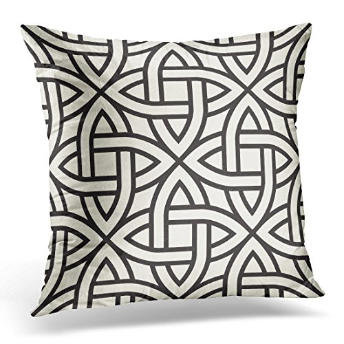 TOMKEYS Throw Pillow Cover Scotland Celtic Abstract Vintage Geometric Border Tribal Decorative Pillow Case Home Decor Square 18x18 Inches Pillowcase