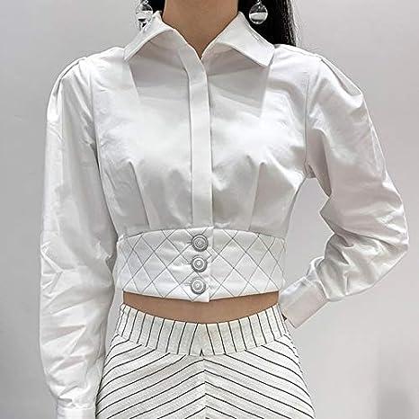 SETGVFG Camisas para Mujer Blusa Cuello De Solapa Manga Larga Patchwork Argyle Hem Crop Tops Mujer Damas OL Moda Primavera: Amazon.es: Deportes y aire libre